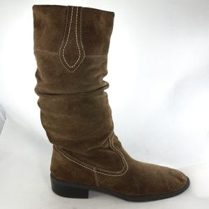 MERONA Chocolate Suede Mid Slouch Pull On Boots